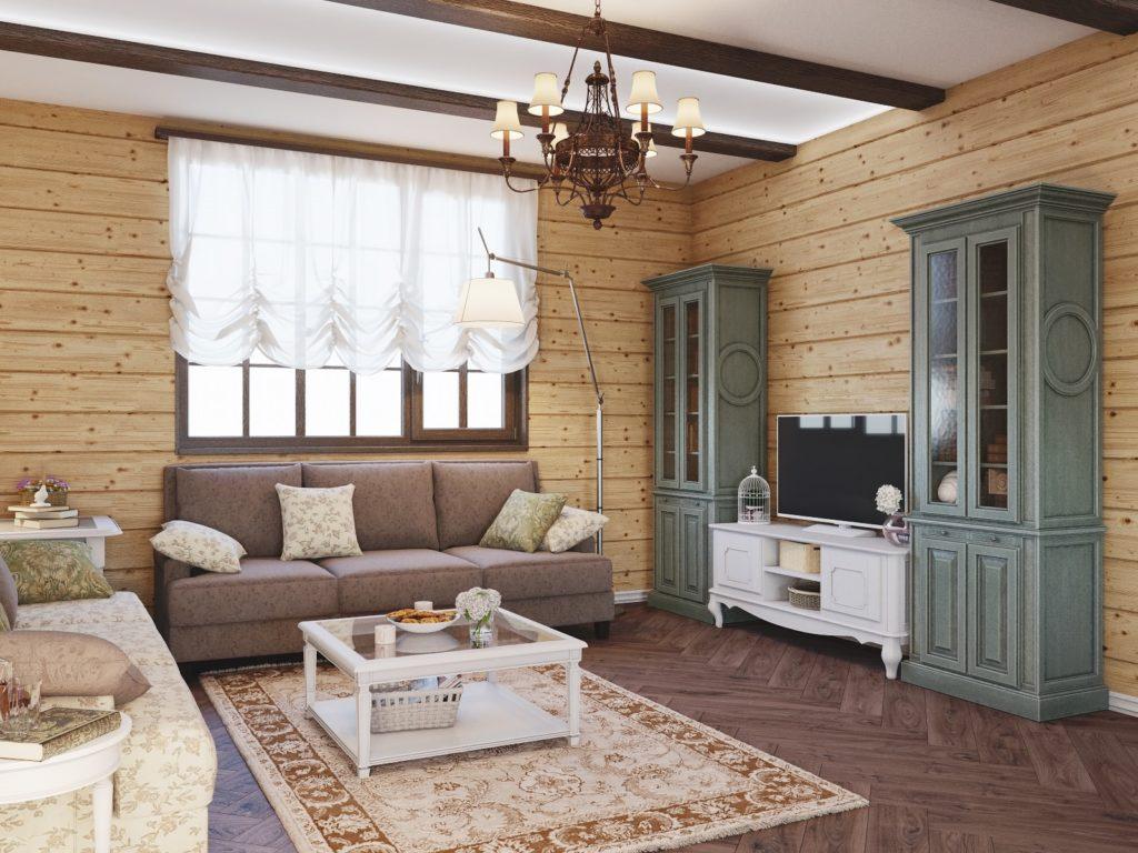 Гостиная в стиле прованс с люстрой
