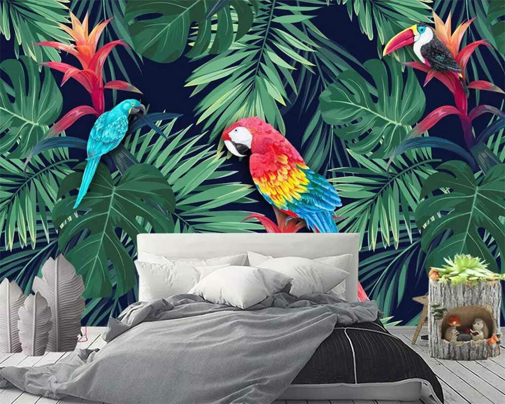 черные обои с птицами в спальне