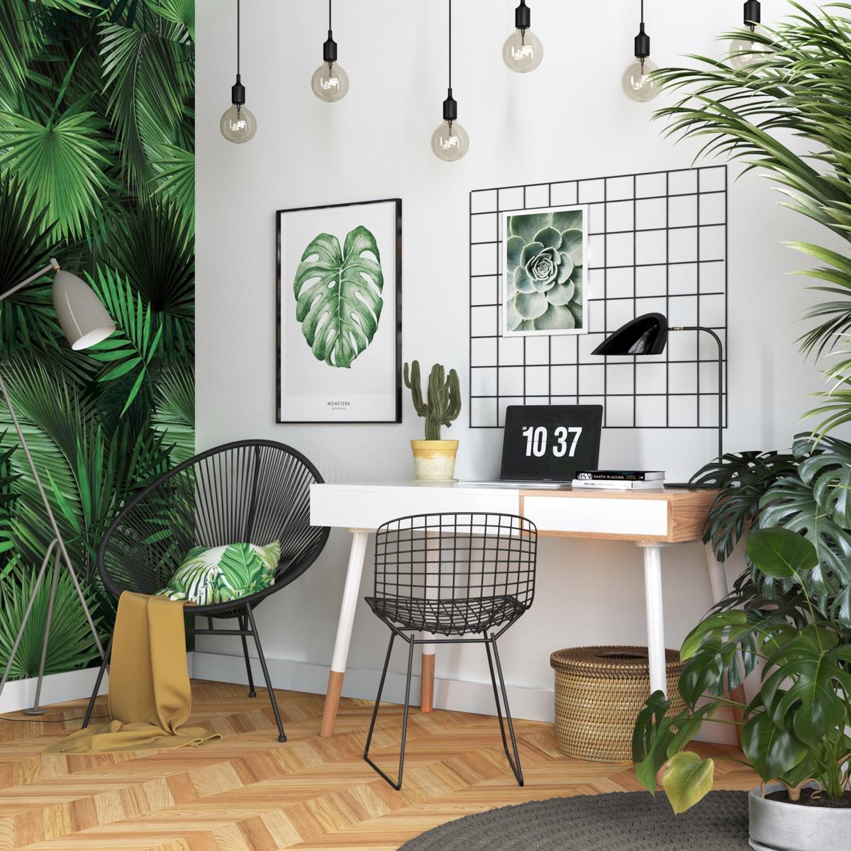 домашний офис в гостиной эко-стиля