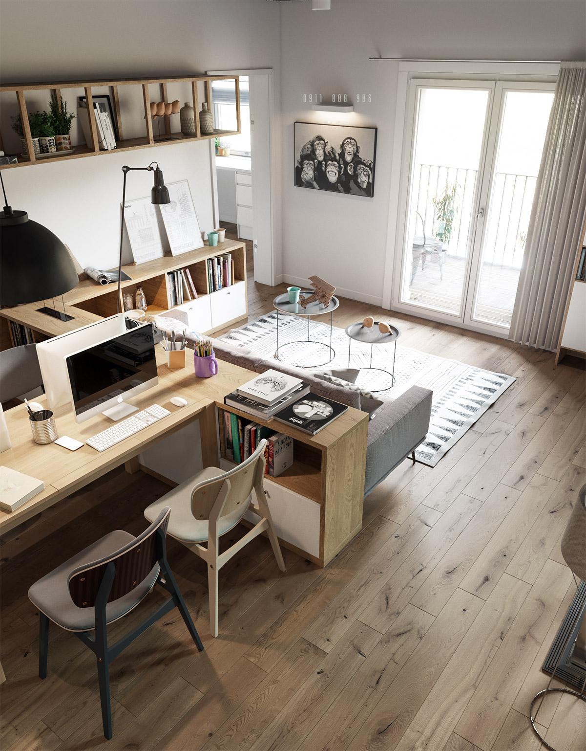 офис в гостиной