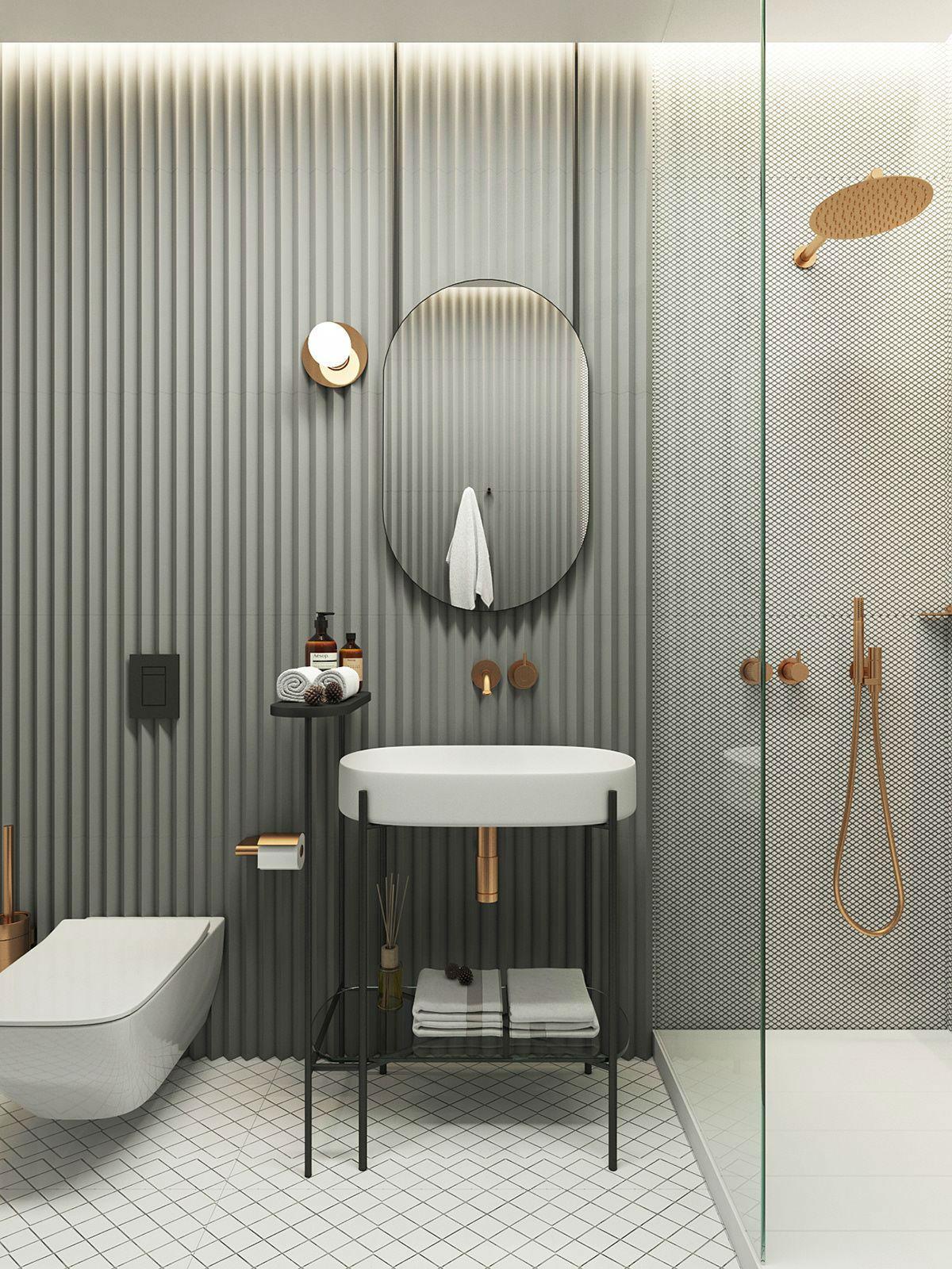 модный дизайн ванной комнаты материалы отделки