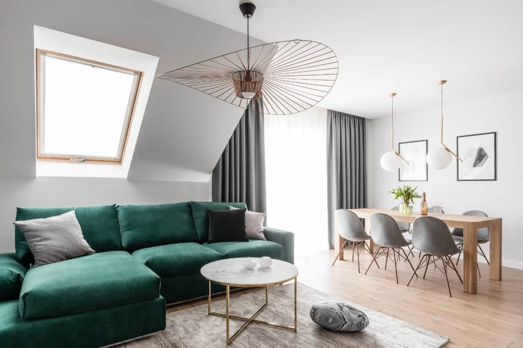 Интерьер 2021, зелёная мебель6