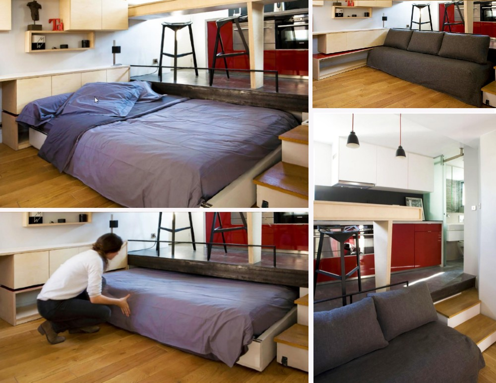 дизайн квартиры студии, многоуровневый интерьер