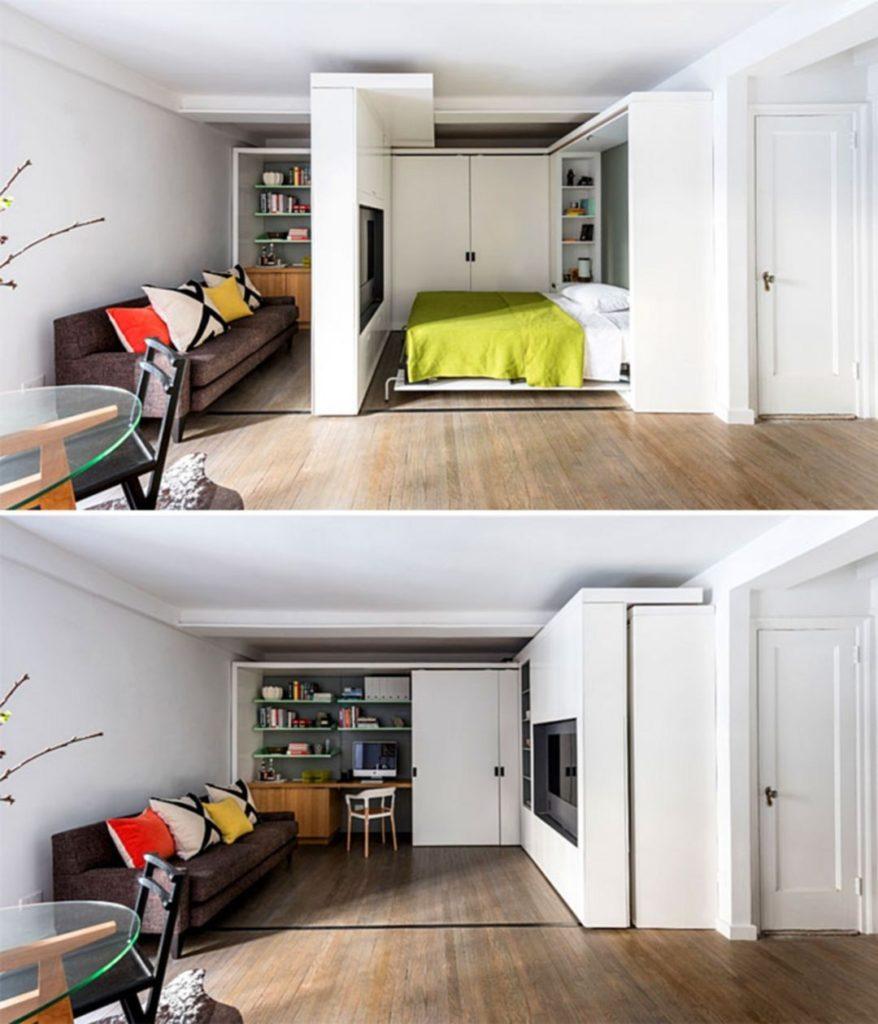 дизайн квартиры-студии, сдвижная перегородка